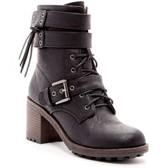 Chase & Chloe Benson Combat Boot (345 MAD) ❤ liked on Polyvore featuring shoes, boots, ankle booties, ankle boots, black, short black boots, lace up ankle boots, lace up chunky heel booties, black booties and black boots