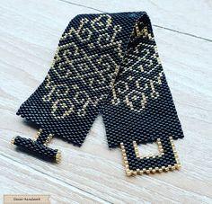 Beautiful handmade bracelet jet black with topaz pattern. This bracelet has been. Bead Loom Patterns, Peyote Patterns, Bracelet Patterns, Beading Patterns, Bead Loom Bracelets, Peyote Bracelet, Peyote Beading, Beadwork, Beaded Jewelry Designs