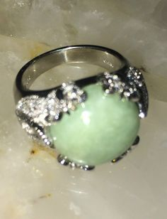 Chinese Jade & Diamond Accent Peaceful Nature Sterling Ring Size 8