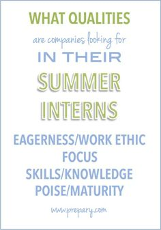 what companies look for in their summer interns