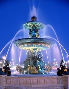 Fountains at Concorde in Paris, France.