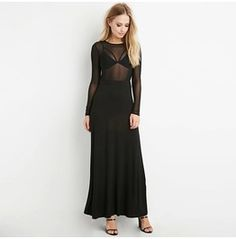Sheer Black Long Sleeve Maxi Dress