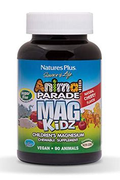 Nature's Plus - Animal Parade MagKidz Children's Chewable Sugarfree -Cherry Flavor, 90 Count Healthy Brain, Healthy Teeth, Magnesium Supplements, Bone Health, Food Packaging, Natural Flavors, Children's Vitamins, Metabolism, Sugar Free