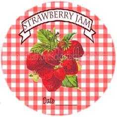 Mason Jar Labels Round Stickers Strawberry Jam by lovesoldstuff
