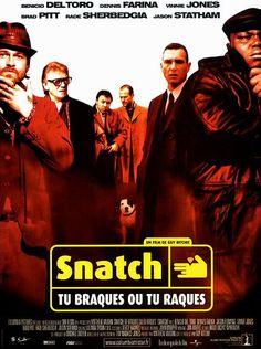 Snatch, Guy Ritchie, 2000. Franky « Quatre doigts » vole un diamant de 84 carats à Anvers pour le compte d'Avi Denovitz, un mafieux new-yorkais, et doit le livrer à Londres à Doug « le Cerveau », le cousin d'Avi. Boris Yurinov, un trafiquant d'armes surnommé « le Hachoir » ou encore « Boris Pare-balles », entreprend de récupérer le diamant et engage pour cela Vinny et Sol, deux petits truands. Boris demande à Franky, qui est un joueur impénitent