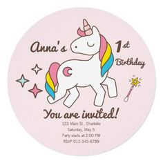 Birthday. Cute Unicorn with Sparkles and Wand Card - unicorn birthday diy gift idea present unicorns customize