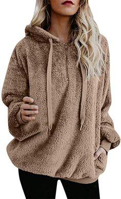 a777db005c7b2d iDWZA Women s Winter Warm Zipper Up Hooded Sweatshirt Coat Outwear with  Pockets (S
