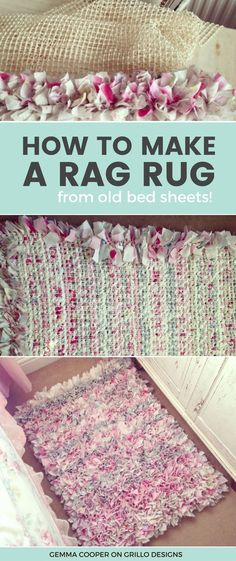 How To Make A DIY Rag Rug Using Old Bedding is part of Easy DIY crafts - DIY Rag Rug tutorial Gemma Cooper shares an easy method on how to create the perfect rag rug for your home Video tutorial included! Fabric Crafts, Sewing Crafts, Sewing Projects, Diy Projects Fun, Diy Crafts Rugs, Project Ideas, Crochet Projects, Sewing Diy, Sewing Rooms
