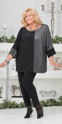 "Kasbah silver/black silky jersey/lurex oversize top and trouser: Round neck oversize top with 3/4 sleeves, centre back 28"" approx, 51.63 polyester 21.18 viscose 11.27 polyamide 10.82 metal 5.10 elastine. £70. Narrow trouser with fully elasticated waist, inside leg 30"" approx, 94% polyester 6% elastine, washable. £50. 