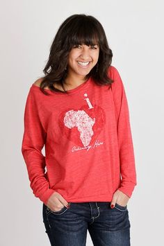 Red i heart Slouchy Pullover