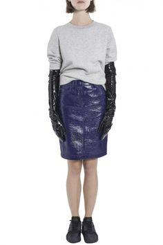 Blue Crinkled Vinyl Jean Skirt by Wanda Nylon - Shop it here : Precouture.com