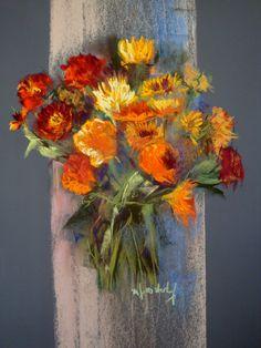 soucis pastel 60 x 50 cm Marie-France OOSTERHOF