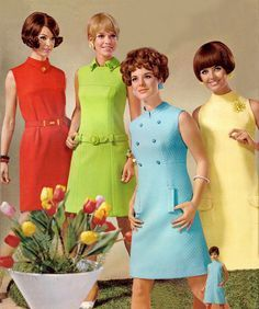 Retro fashion pictures from the and 60s And 70s Fashion, Mod Fashion, Vintage Fashion, Office Fashion, 1960s Dresses, Vintage Dresses, Vintage Outfits, Sun Dresses, Sheath Dresses