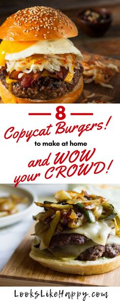 8 Copycat Burger Recipes to Make at Home – Looks Like Happy laborday bbq cookout grilling burgers cheeseburgers 649644314974430111 Bbq Burger, Gourmet Burgers, Grilling Burgers, Sliders Burger, Turkey Burgers, Veggie Burgers, Best Grilled Burgers, Delicious Burgers, Grilled Hamburgers