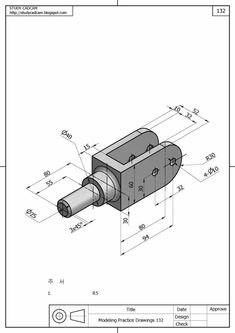: How to make a part on Solidworks, Exercice Autocad Isometric Drawing, Isometric Drawing Exercises, Mechanical Engineering Design, Mechanical Design, Cad 3d, Solidworks Tutorial, Revit, Autodesk Inventor, Create Drawing