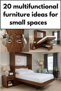 Wall bed with built-in dining table
