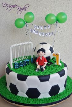 Soccer Theme Cake - Cake by Phey Football Birthday Cake, Soccer Birthday Parties, Soccer Party, Football Cakes For Boys, Football Themed Cakes, Fondant Cakes, Cupcake Cakes, Cupcakes, Soccer Ball Cake