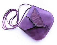 ARRIETTY Small leather messenger bag, Fairytale inspired #3390 Violet