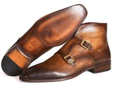 PAUL PARKMAN MEN'S DOUBLE MONKSTRAP BOOTS BROWN Website : #paulparkman