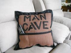Man cave cushion with pocket