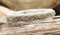 Gold and Pewter Thread Embroidered Leather Bracelet, Sami Bracelet, Swedish Bracelet, White Leather Bracelet, Womens Bracelet, Braided Metal