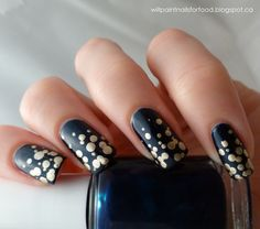 """Champagne Bubbles"" Mani - Essie Midnight Cami, a deep vibrant midnight blue, for the base, and for the gold - Stripe Rite polish in gold"