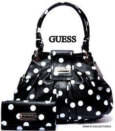 guess polka dot purse and wallet Guess Purses, Guess Bags, Cute Purses, Guess Handbags, Purses And Handbags, Mk Handbags, Designer Handbags, Beautiful Handbags, Beautiful Bags