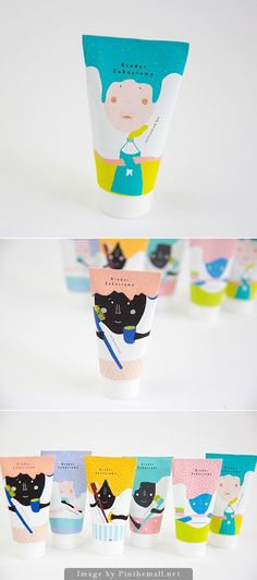 Toothpaste packaging for kids. Gorgeous color palette and illustrations, even for adults!