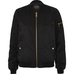 River Island Black quilted bomber jacket ($72) ❤ liked on Polyvore featuring outerwear, jackets, river island jacket, zip front jacket, long sleeve jacket, satin jackets and quilted jacket