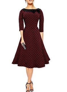 Amstt Ladys 1950s Rockabilly 3/4 Sleeve party bowknot Polka Swing Vintage Dress Amstt http://www.amazon.com/dp/B014Y1Q57W/ref=cm_sw_r_pi_dp_2d5jwb1H1QDF7