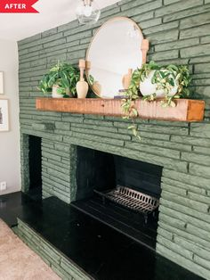 Painted Stone Fireplace, Paint Fireplace, Brick Fireplace Makeover, Fireplace Remodel, Fireplace Ideas, Fireplace Mantels, Beige Walls, Farmhouse Style Decorating, Diy On A Budget