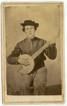 banjo player, Hill chuck in pencil on back, 3 cent tax stamp ca 1864-6