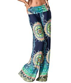 a2c8dfde908 Womens Fold Over Waist Wide Leg Palazzo Pants Plus Size 2XL Navy Tribal    Check this