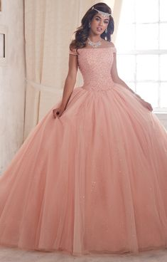 Quinceanera by House of Wu 26844 long ball gowns designer dress for your next formal occasion. Dama Dresses, Quince Dresses, Ball Gown Dresses, Prom Dresses, Formal Dresses, Sparkly Dresses, Evening Dresses, Sweet 15 Dresses, Pretty Dresses