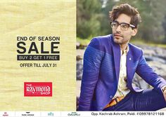 #SaleTime - Ends on 31st July !  Come down NOW at The Raymond Seconds Shop - Paldi and avail 'Buy 2 Get 1 Free' offer :)  #RaymondStore #SaleOffer #Sale #Raymond #Gentleman #Buy2Get1Free #Ahmedabad #India