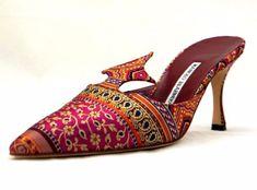 MANOLO-BLAHNIK-Floral-Embroidered-Satin-High-Heel-Slides-Mules-40-New