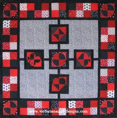 4 Patch Fun Quilt Pattern - free to members. http://www.victorianaquiltdesigns.com/VictorianaQuilters/PatternPage/PatternPage.htm #quilting
