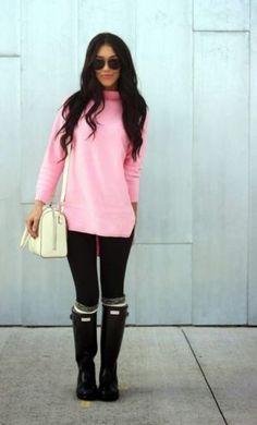 negro y rosa outfit con botas