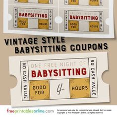 printable free babysitting coupon template This free babysitting coupon template is similar in style to retro tear-off stub tickets, with a weathered vintage yellow, red, and gray color scheme. Printable Tickets, Free Printable Coupons, Free Coupons, Templates Printable Free, Free Printables, Free Coupon Template, Date Night Gifts, Birthday Coupons, Gift Certificate Template