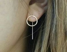 ♣ Free shipping on additional items This listing is for a PAIR of our gorgeous Circle Dropdown Earrings with the circle measuring 12mm x 12mm and the total back drop down measuring 26mm. For any occasions be it a casual hang out with friends, a stroll around the park or a romantic night out, these earrings will perfectly complement your look ♥ Circle Size: 12mm x 12mm Back Line Total Length: 26mm Available in rose gold, gold and silver OTHER GORGEOUS GEOMETRIC EARRINGS: Bar Earring Stu...