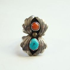 Navajo Style Coral Turquoise Shadowbox Sterling Silver Ring Size 9.25 Southwestern Indian Jewelry by redroselady on Etsy