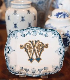 Kimberly Schlegel Whitman tips for entertaining monograms for the home Jan Showers interior decor tablescapes parties around punch bowl Monogram Pillows, S Monogram, Monogram Design, Showers Interior, Punch Bowls, Blue And White China, Beautiful Interiors, Hostess Gifts, Decoration