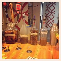 Special infusions that make me want to imbibe; Apple whiskey, lavender vodka, and ginger and rosemary syrups.  Yum.  (at Urban Eats)