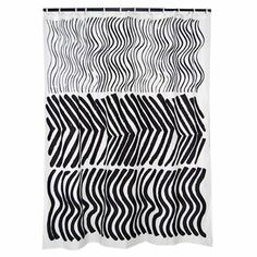 Marimekko Silkkikuikka Black U0026 White Long Polyester Shower Curtain
