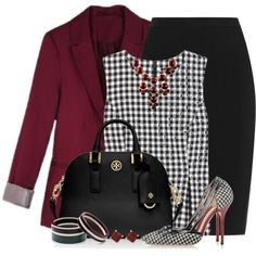 Black & White Houndstooth Pumps by brendariley-1 on Polyvore featuring moda, Diane Von Furstenberg, Lanvin, Dsquared2, Tory Burch, Marni and Kabella Jewelry