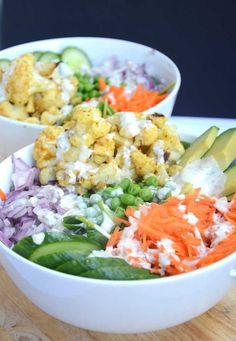 Baked Cauliflower Salad Bowl with Tahini Ranch Dressing #veganrecipes #glutenfreerecipes #cleaneating