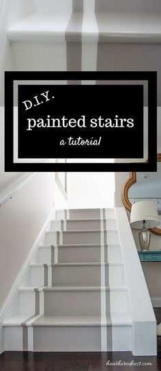 Incredible Stair Makeover With Paint So Much Cheaper Than Stain Or New Stairs Great Painted Stairs Diy Tutorial. In the event that You Can Hold A Paintbrush, You Can Easily Learn How To Paint Stairs Incredible Stair Makeover With Paint So Much Chea Painted Staircases, Painted Stairs, Wooden Stairs, Painted Floors, Wood Walls, Wooden Benches, Funky Junk Interiors, Basement Steps, Garage Stairs