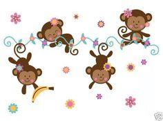 Monkey Wallpaper Border Baby Girl Nursery Kids Room Stickers Jungle Wall Decor
