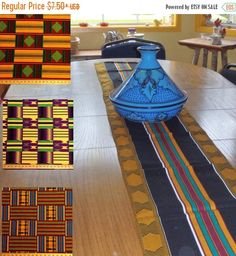 ON SALE African Kente Print Table Runner Or Table Cloth Or Luncheon Napkins    Choose Fabric