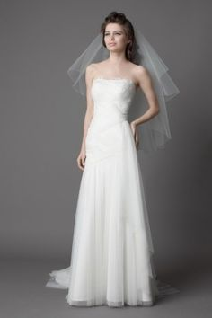 A-Line Straight Neckline Strapless with Lace Appliques Zipper Floor Length Tulle